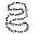 Purple Shell & Black Imitation Pearl Bead Long Necklace - 140cm Length - view 5