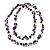 Purple Shell & Black Imitation Pearl Bead Long Necklace - 140cm Length - view 6