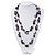 Purple Shell & Black Imitation Pearl Bead Long Necklace - 140cm Length - view 3