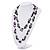 Purple Shell & Black Imitation Pearl Bead Long Necklace - 140cm Length - view 7