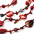 Long Multistrand Red Shell & Simulated Pearl Necklace - 96cm Length - view 3