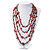 Long Multistrand Red Shell & Simulated Pearl Necklace - 96cm Length - view 2