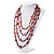 Long Multistrand Red Shell & Simulated Pearl Necklace - 96cm Length - view 7