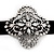 Black Velour Ribbon Diamante Filigree Cross Choker In Silver Tone Metal - 29cm Length (7cm extension) - view 2