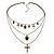 3-Strand 'Skull & Cross' Gothic Necklace In Bronze Tone Metal - 52cm Length (the longest strand) - view 3