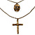 3-Strand 'Skull & Cross' Gothic Necklace In Bronze Tone Metal - 52cm Length (the longest strand) - view 5