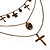 3-Strand 'Skull & Cross' Gothic Necklace In Bronze Tone Metal - 52cm Length (the longest strand) - view 9