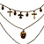 3-Strand 'Skull & Cross' Gothic Necklace In Bronze Tone Metal - 52cm Length (the longest strand) - view 10