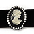 Black Velour Ribbon Simulated Pearl 'Cameo' Choker Necklace - 30cm Length & 8cm Extension - view 2