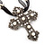 Large Victorian Filigree Imitation Pearl Crystal Cross Pendant On Black Organza Cord Necklace - 36cm Length & 7cm Extension - view 3