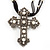 Large Victorian Filigree Imitation Pearl Crystal Cross Pendant On Black Organza Cord Necklace - 36cm Length & 7cm Extension - view 2