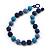 Chunky Navy Blue/Light Blue Glass Beaded Necklace - 48cm Length