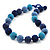 Chunky Navy Blue/Light Blue Glass Beaded Necklace - 48cm Length - view 3