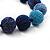 Chunky Navy Blue/Light Blue Glass Beaded Necklace - 48cm Length - view 5