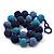 Chunky Navy Blue/Light Blue Glass Beaded Necklace - 48cm Length - view 4
