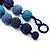 Chunky Navy Blue/Light Blue Glass Beaded Necklace - 48cm Length - view 6