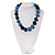 Chunky Navy Blue/Light Blue Glass Beaded Necklace - 48cm Length - view 8