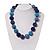 Chunky Navy Blue/Light Blue Glass Beaded Necklace - 48cm Length - view 2