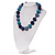 Chunky Navy Blue/Light Blue Glass Beaded Necklace - 48cm Length - view 7
