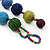 Chunky Multicoloured Glass Beaded Necklace - 56cm Length - view 6