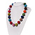 Chunky Multicoloured Glass Beaded Necklace - 56cm Length - view 3