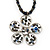 Peacock Coloured Glass Bead Flower Pendant Necklace - 40cm Length - view 2