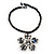 Peacock Coloured Glass Bead Flower Pendant Necklace - 40cm Length - view 3