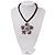 Peacock Coloured Glass Bead Flower Pendant Necklace - 40cm Length - view 7