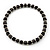 Black Ceramic Bead & Silvertone Metal Ring Stretch Choker Necklace - view 4