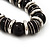 Black Ceramic Bead & Silvertone Metal Ring Stretch Choker Necklace - view 3