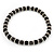 Black Ceramic Bead & Silvertone Metal Ring Stretch Choker Necklace - view 5