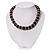 Black Ceramic Bead & Silvertone Metal Ring Stretch Choker Necklace - view 6