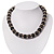 Black Ceramic Bead & Silvertone Metal Ring Stretch Choker Necklace - view 2