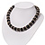 Black Ceramic Bead & Silvertone Metal Ring Stretch Choker Necklace - view 7