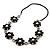 Long Silver/Black Plastic Floral Necklace On Leather Style Cord - 70cm Length - view 6