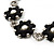 Long Silver/Black Plastic Floral Necklace On Leather Style Cord - 70cm Length - view 7
