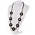 Long Silver/Black Plastic Floral Necklace On Leather Style Cord - 70cm Length - view 8