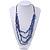 4 Strand Blue Glass Bead Black Cotton Cord Necklace - 60cm Length - view 2