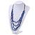 4 Strand Blue Glass Bead Black Cotton Cord Necklace - 60cm Length - view 7