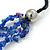 4 Strand Blue Glass Bead Black Cotton Cord Necklace - 60cm Length - view 4