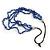 4 Strand Blue Glass Bead Black Cotton Cord Necklace - 60cm Length - view 5
