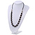 Black Glass Bead Leather Style Cord Necklace - 64cm Length - view 2