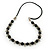Black Glass Bead Leather Style Cord Necklace - 64cm Length - view 3