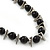 Black Glass Bead Leather Style Cord Necklace - 64cm Length - view 4