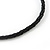 Black Glass Bead Leather Style Cord Necklace - 64cm Length - view 6