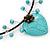 Romantic Turquoise Bead 'Heart' Flex Choker Necklace - Adjustable - view 4