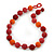 Chunky Coral/Orange Red Glass Beaded Necklace - 56cm Length