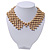 'French Collar' Beaded Choker Necklace In Matt Gold Finish - 38cm Length/ 7cm Extension - view 9