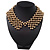 'French Collar' Beaded Choker Necklace In Matt Gold Finish - 38cm Length/ 7cm Extension - view 7
