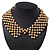 'French Collar' Beaded Choker Necklace In Matt Gold Finish - 38cm Length/ 7cm Extension